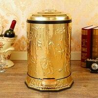 Luxo 10/6 cor do ouro de aço inoxidável metal caixotes de lixo com pé pedal caixa de lixo para decoração casa ljt011