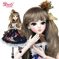 24 BJD Full Set + Black Miss 1/3 Doris BJD Doll SD Dolls 60cm 24 jointed dolls Toy Action Figure + Accessories Toy for Girls