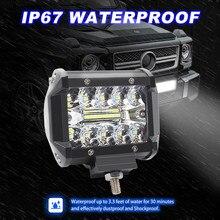 2 pièces 4 pouces 60W travail lumière projecteur Combo hors route conduite feu de brouillard BoatSUV lampes LED pour voitures Luces Led Para Auto