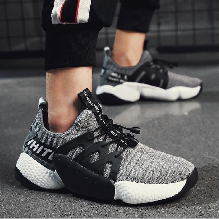 Hot Sale Running Shoes For Men Lace-up Athletic Trainers Zapatillas Sports Male Shoes Outdoor Walking Sneakers Thick-bottomed fl