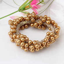 New Korean Style Women Hair Accessories 2 Styles Pop Elastic Pearls Beads Hair Band Rope Scrunchie Ponytail Holder Hair Band(China)
