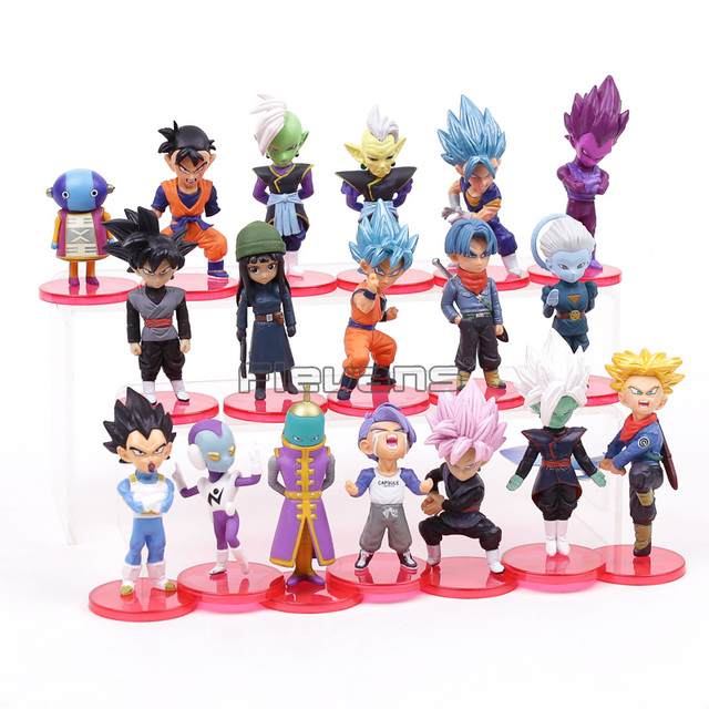 Super Dragon Ball PVC Brinquedos Figuras Super Saiyan Son Goku Gohan Vegeta Trunks Cabelo Azul Mai Zamasu 18 pçs/set