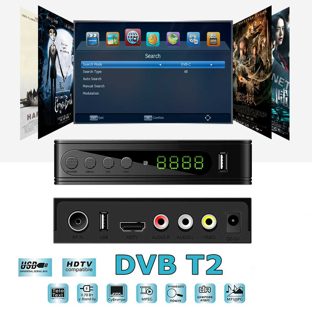 U2C HD Digital TV Tuner DVB-T2 Präfix Wifi Empfänger DVB T2 TV Tuner DVBT2 Vga AC3 Youtube Set Top Box TDT FTA DVB-C Digital TV