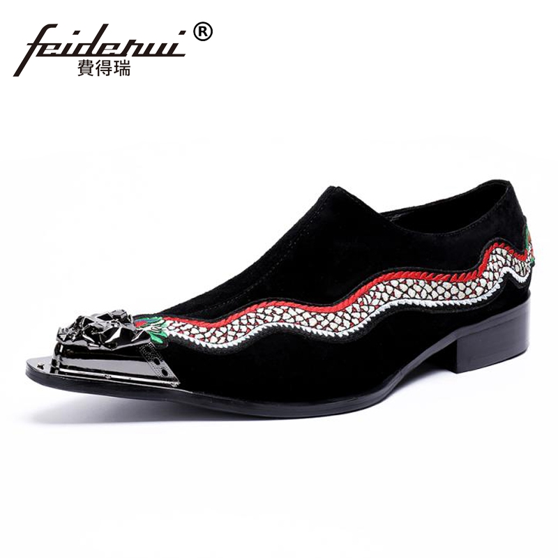 цена Plus Size Cow Suede Leather Metal Tipped Man Casual Loafers Pointed Toe Slip on Height Increasing Men's Banquet Shoes SL465