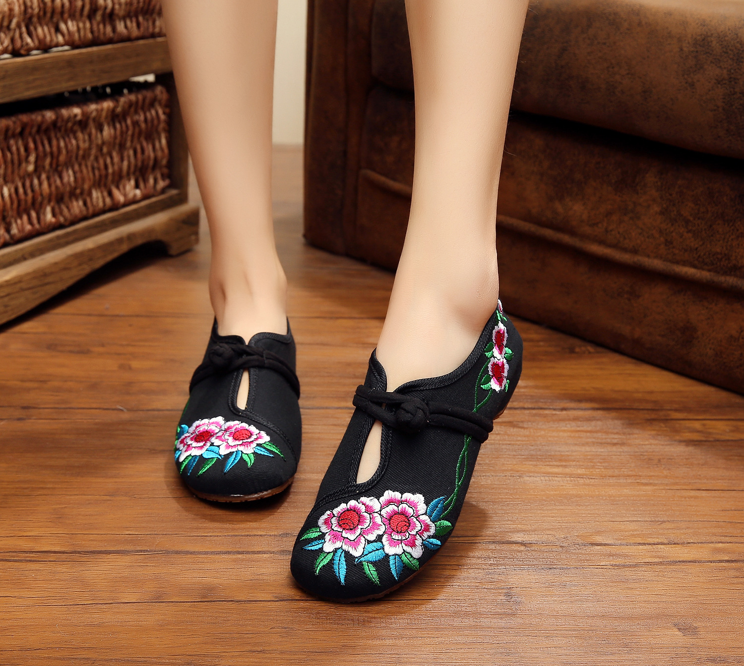 Plus Size 41 Fashion Women Shoes, Old Beijing Mary Jane Flats With Casual Shoes, Chinese Style Embroidered Cloth shoes woman old beijing embroidered women shoes mary jane flat heel cloth chinese style casual loafers plus size shoes woman flower black