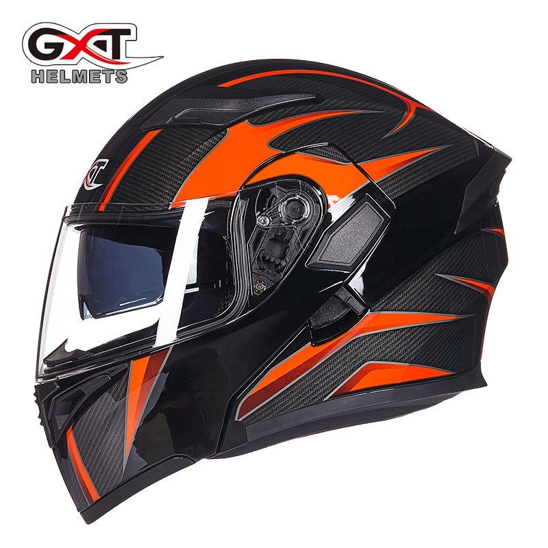 Hot sale GXT 902 Flip Up Motorcycle Helmet Modular Moto Helmet With Inner Sun Visor Safety Double Lens Racing Full Face Helmets 2017 new knight protection gxt flip up motorcycle helmet g902 undrape face motorbike helmets made of abs and anti fogging lens