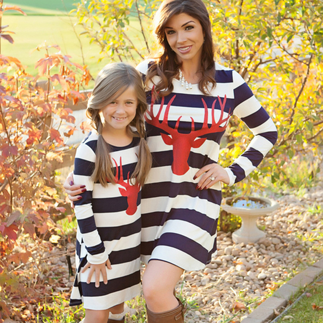 2017 Deer Chirstmas Mother Daughter Dresses Fashion Long Sleeve Striped Look Matching Cotton Mom Daughter Dress Family Clothing