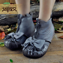 Genuine leather wedges boots increased shoes bottom female casual boots vintage soft bottom female boots flower