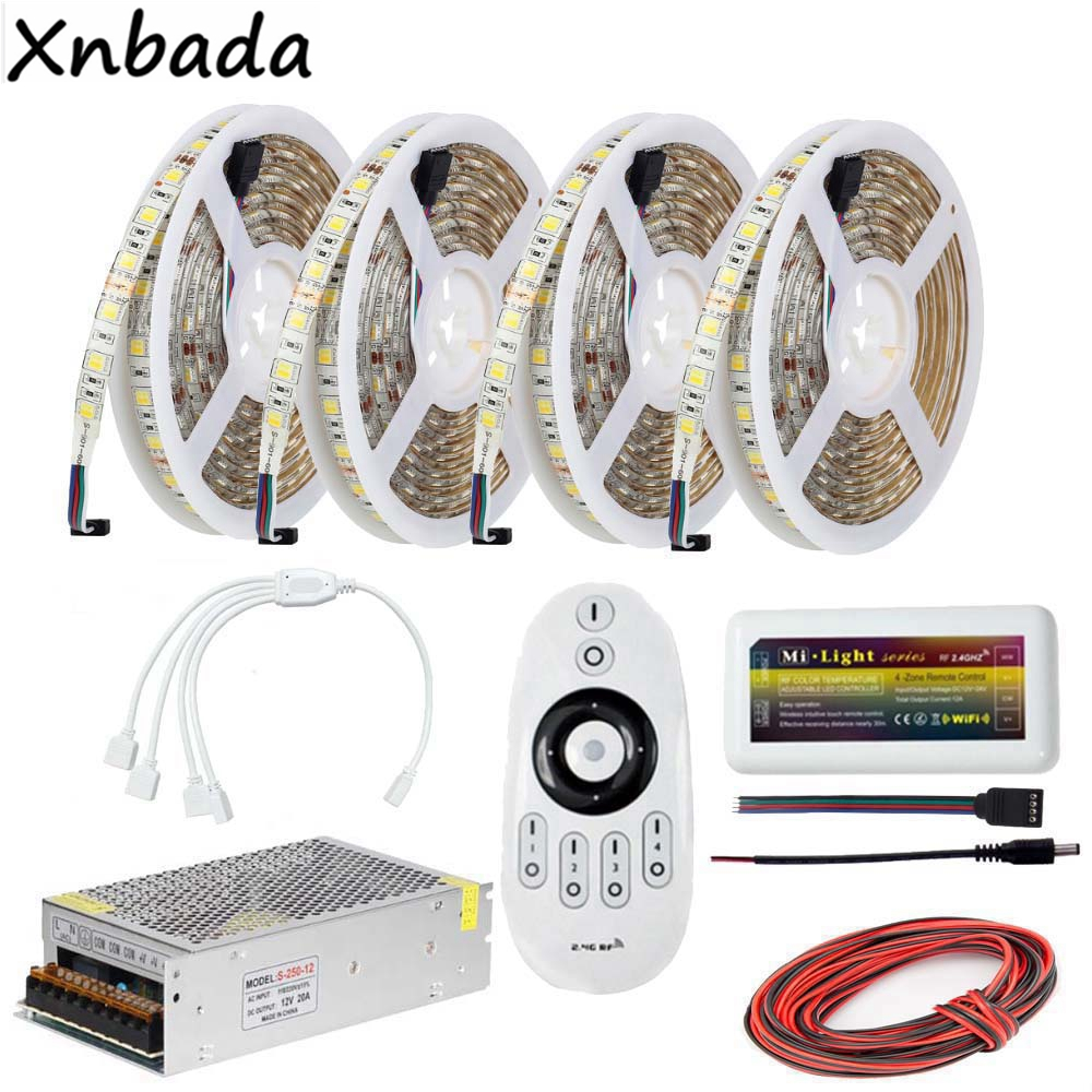 Milight 2.4G Remote Led Controller,SMD5050 CT Led Flexible Strip 1 To 2/3/4 4Pin Accessories Power Supply Driver Kit good group diy kit led display include p8 smd3in1 30pcs led modules 1 pcs rgb led controller 4 pcs led power supply