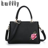 KMFFLY Embroidered Flowers Fashion Designer Bags Handbags Women Famous Brands High Quality Shoulder Bags Luxury Ladies