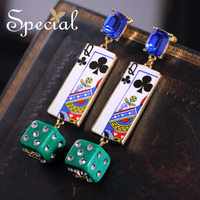 Special New Fashion Enamel Dangle Earrings Dice and Clubs Unique Earrings Stud Ear-piercing Jewelry Gifts for Women S1619E