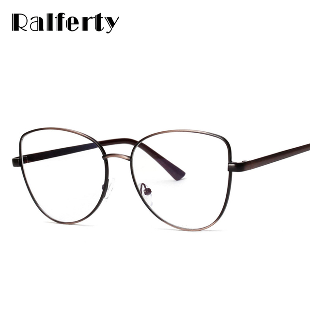 b1dc5381562 Ralferty Retro Cat Eye Glasses Frames Women Metal Eyeglass Gold Eyewear  Accessories Optical Spectacle Frame lunette Oculos 3235