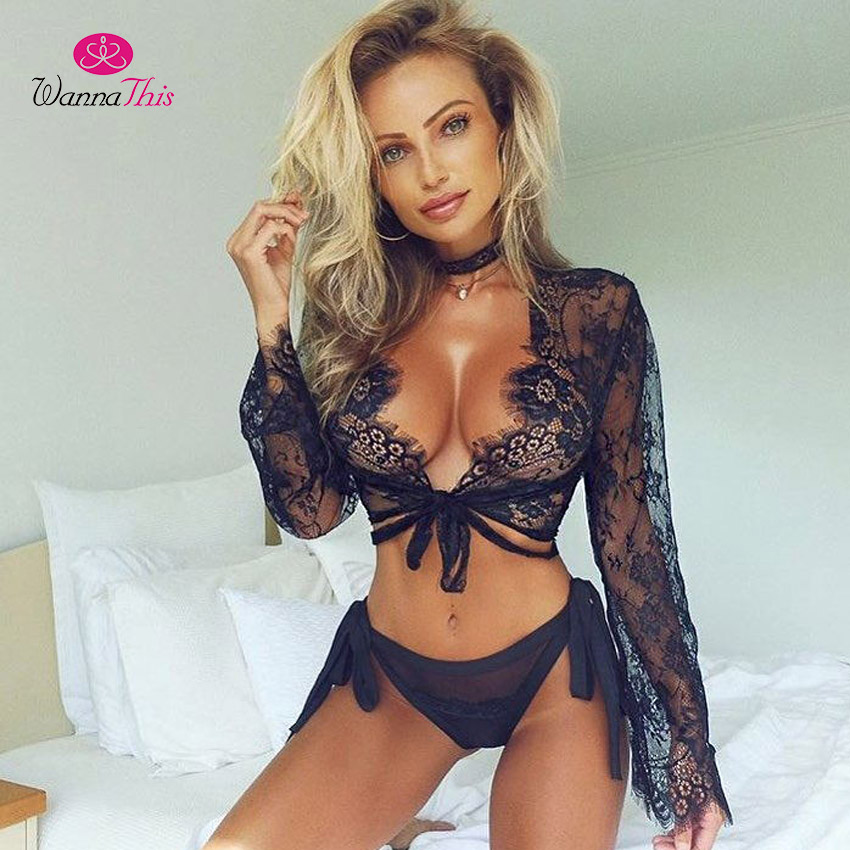 WannaThis Sexy Lace Women Crop Top Tees Female Black Hollow Out Top Long Sleeve Lace Up Elegant Eyelash Solid Color Short Cami