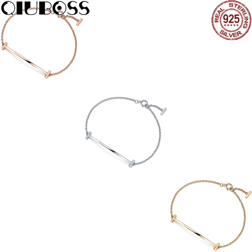 QIUBOSS 100% 925 Sterling Silver Smile Bracelet Fit DIY Original Jewelry High-end Atmosphere Jewelrys Gift qiuboss tiffany925silver letters lettering ring link bracelet sterling silver bracelet jewelry 19710408