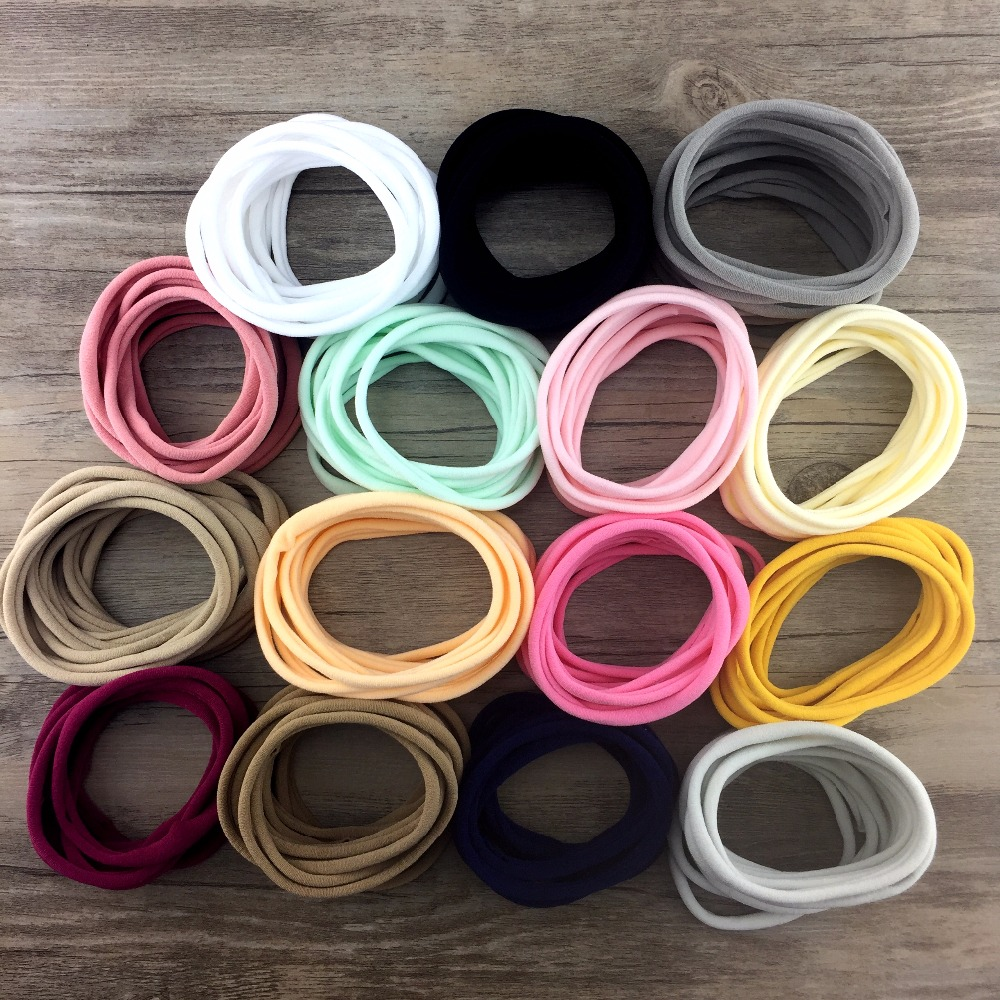 500pcs/lot Girls Spandex Nylon Headband For Children Custommized Elastic Headband Soft Skinny Stretchy Hair Tie Hair Accessories