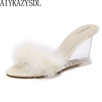 AIYKAZYSDL Summer Autumn Women Mules Slides Outdoor Shoes Plush Real Fur Furry PVC Clear Transparent Wedge High Heels
