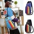Unisex Fashion Women Nylon Messenger Bags Cross Body Shoulder Rainbow Chest Bag PacksWater Shape Casual Chest Pack Pillow Canvas