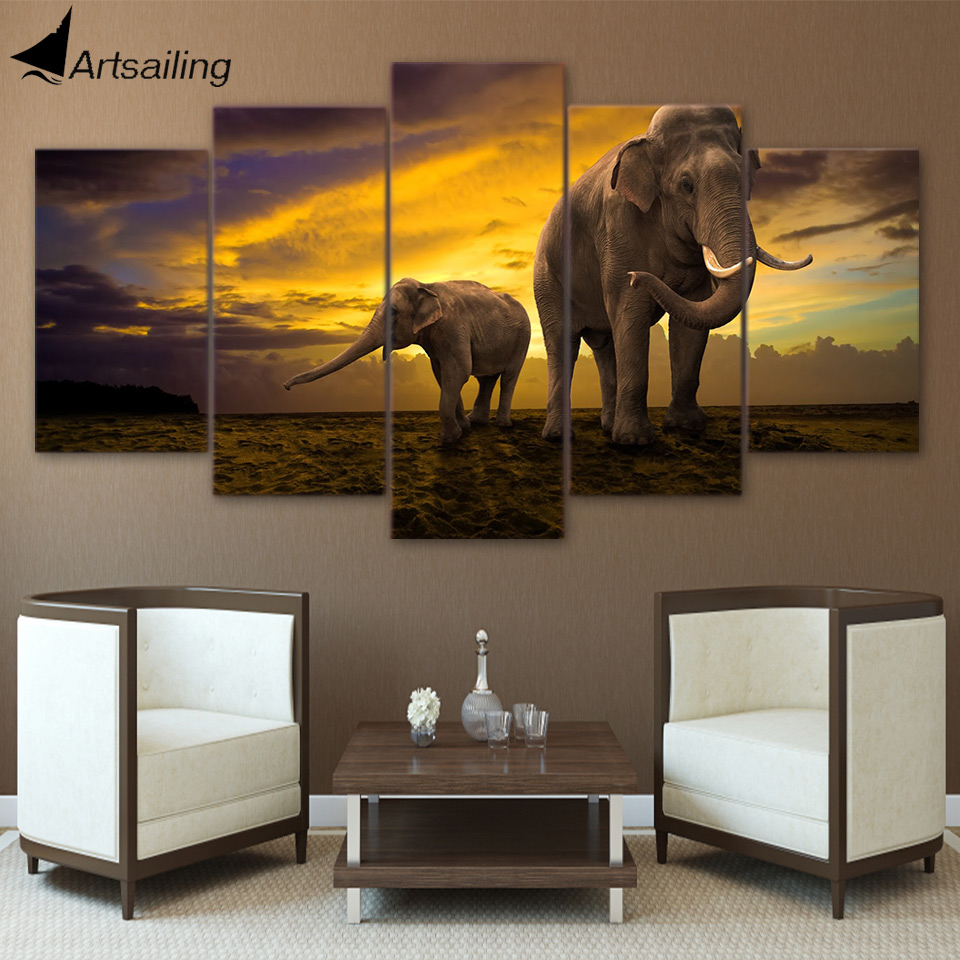 Hd printed 5 piece canvas art elephant picture sunset artwork paintings living room decor panel - Elephant decor for living room ...