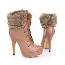 3-2 big size casade shoes winter Fashion PU leather booties fur lace up botines mujer stiletto super high heels ankle boots