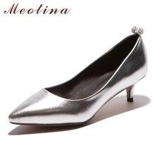 Meotina/Туфли 2017, женская обувь Новая Дизайнерская обувь Острый носок Женская обувь на низком каблуке Туфли-лодочки под платье модные каблуки Щепка золото размеры 42, 43