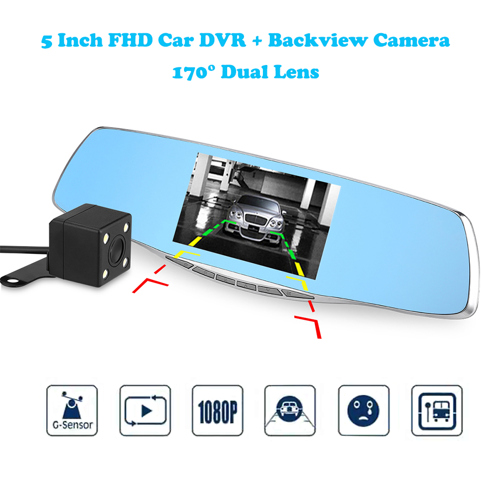 Q50 5 tft Двойной объектив Видеорегистраторы для автомобилей 170 градусов FHD 1080 P + резервного копирования заднего тире Камера Регистраторы зерк...