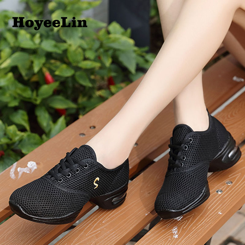 HoYeeLin Modern Jazz Dance Sneakers Women Breathable Mesh Lace Up Dancing Practice Shoes Cushioning Lightweight Fitness