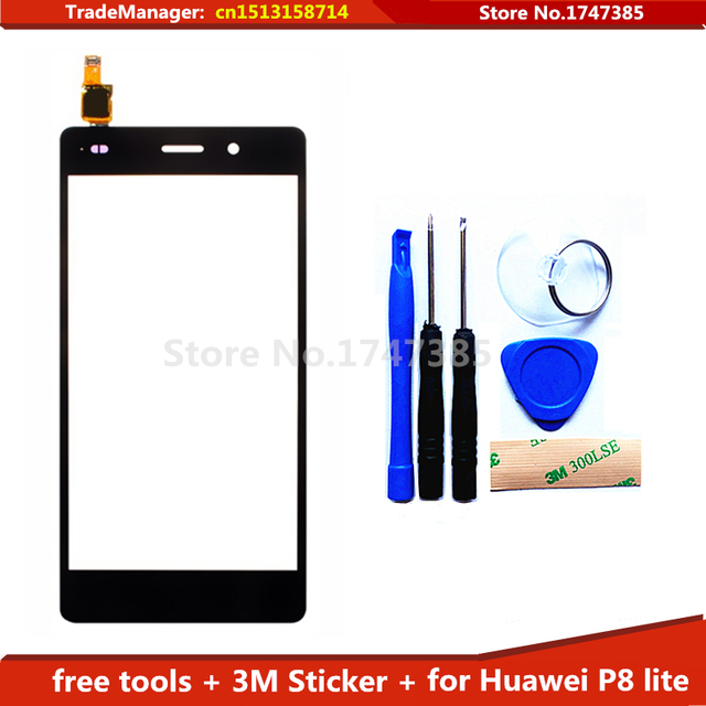 tools+3M adhesive Original Touch Screen for Huawei P8 lite 5.0'' Front Panel Glass Digitizer Replacement Parts for Huawei P8lite