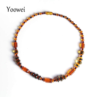 Yoowei Wholesale Baltic Amber Necklace for Female Irregular Natural Amber Beads Handmade diy Design Amber Necklace Jewelry Gifts