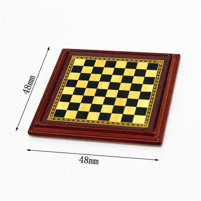 1:12 échelle maison de poupée Miniature en métal jeu d'échecs conseil jouets jeux d'échecs maison chambre maison de poupée ensemble de jouets jeux de Table pour enfants enfants 3