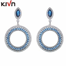 KIVN Fashion Jewelry Dangle Royal Blue Pave CZ Cubic Zirconia Wedding Bridal Earrings for Women Girls Promotion Birthday Gifts