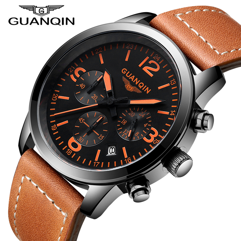 GUANQIN Top Brand Men Watches Male Waterproof Quartz Watch Calendar For Outdoor Sport Luminous Wristwatch relogio masculino 2017 2017 new top fashion time limited relogio masculino mans watches sale sport watch blacl waterproof case quartz man wristwatches