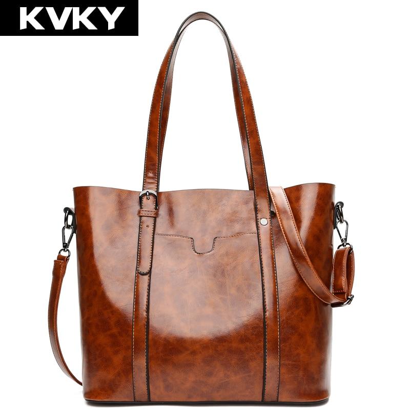 KVKY Brand Vintage Woman Bag Oil Wax Leather Women Handbags Luxury Female Messenger Bag Casual Tote Shoulder Crossbody Bag Bolsa