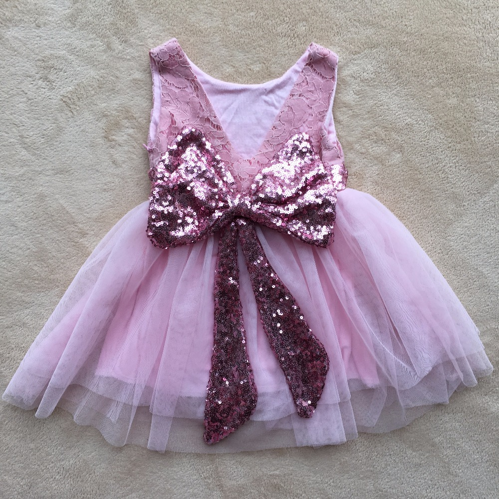 Baby girl pink sequin dress - Wholesale 0 6y Baby Girl Lace Flower Tulle Dress Children Girl Pink Princess Party Dress Infant Toddler Sequins Bows Dress