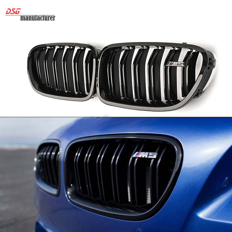 F10 M5 2-Fin Gloss Black Front Kidney Grill Grille Mesh F10 Grid For BMW 5 Series 520i 525i 528i 530i 535i brand new for bmw e61 air suspension spring bag touring wagon 525i 528i 530i 535i 545i 37126765602 37126765603 2003 2010