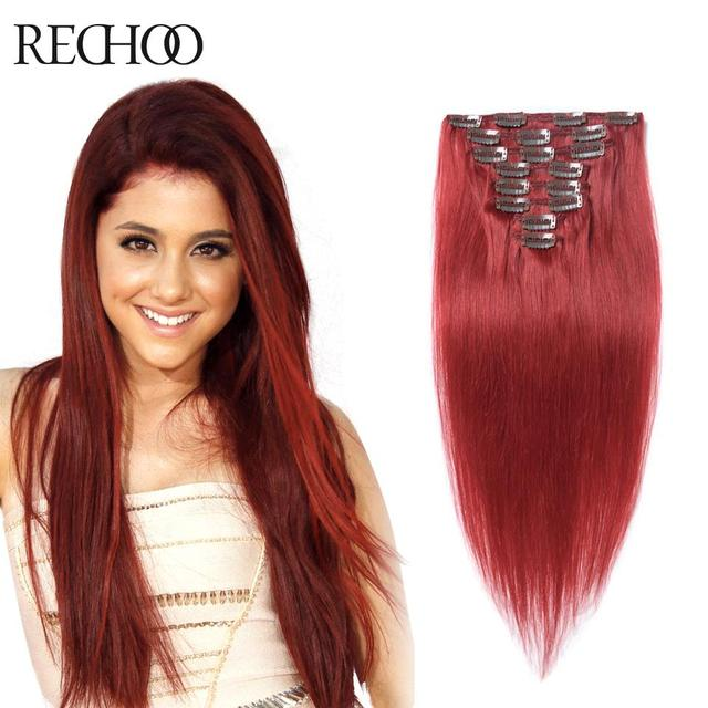 Extensiones de pelo natural color rojo