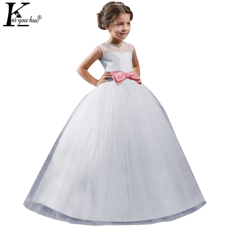 KEAIYOUHUO Summer Girls Dress Elegant New White Wedding Dress For Girls Princess Party Dreses Costume For Kids Clothes 4-14 Year