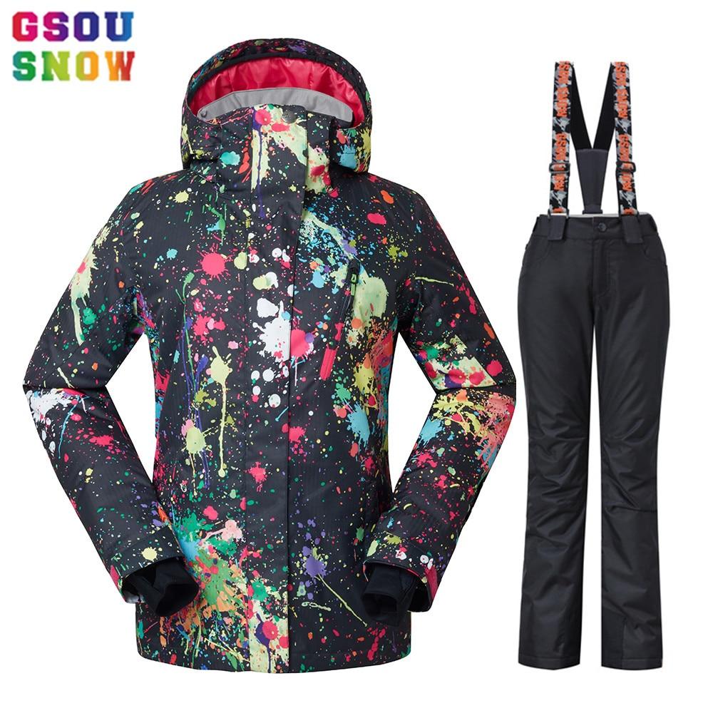 GSOU NEIGE Étanche combinaison de Ski Femmes veste de Ski Pantalon Femelle D'hiver En Plein Air Ski Neige Snowboard Veste Pantalon Snowboard Ensembles