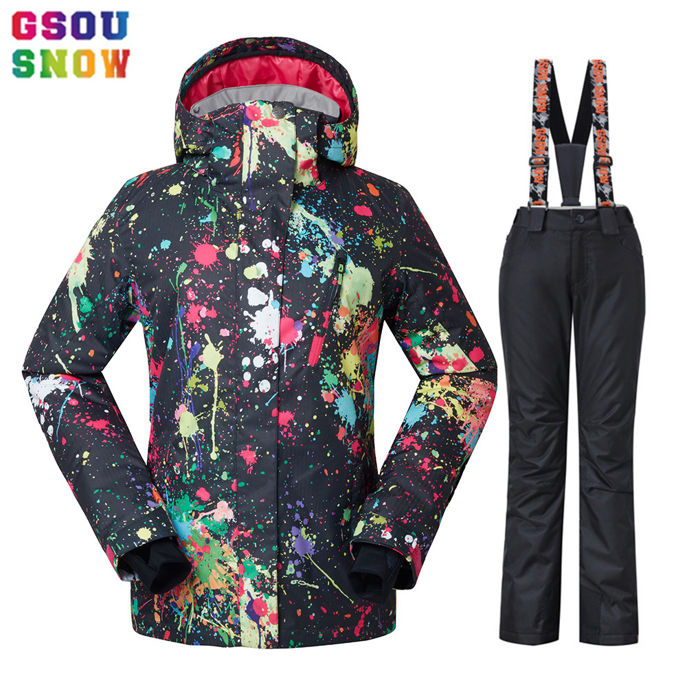 GSOU SNOW Waterproof Ski Suit Women Ski Jacket Pants Female Winter Outdoor Skiing Snow Snowboard Jacket Pants Snowboard Sets gsou snow ski jacket pants women ski suit waterproof snowboard jacket pants snowboard sets high quality skiing snowboarding suit