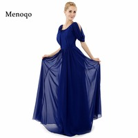 Custom Made Real Made Floor Length Short Sleeve Long Evening Dress 2015 Royal Blue Chiffon Formal