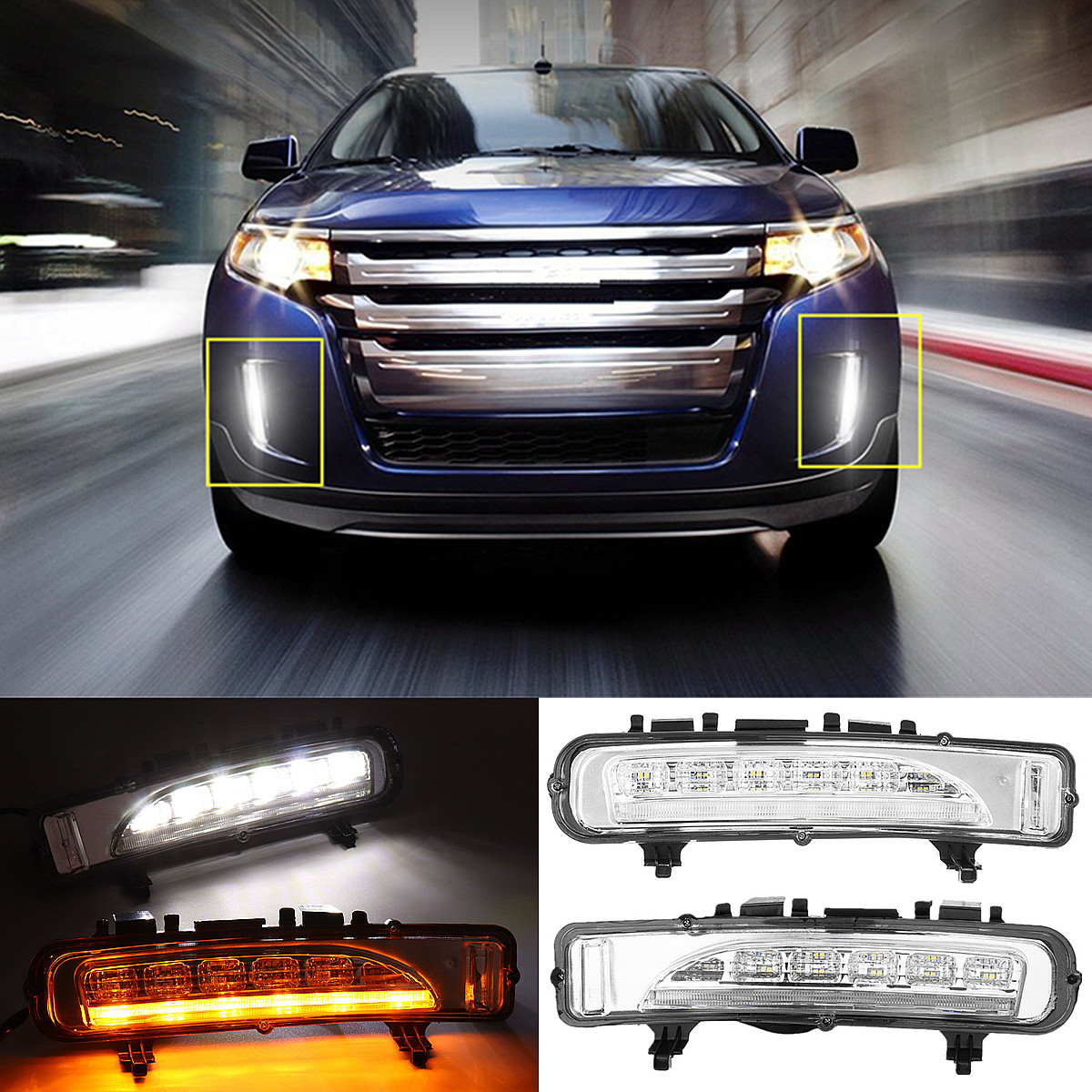 LED Daytime Running Light Turn Signal White/Yellow Safety Durable Waterproof DC 12V for Ford for Edge SUV Fog Lamp DRL 2011-2012 eosuns led drl daylights daytime running light with yellow turn signal fog lamp for ford mondeo 2010 12 wire module controller