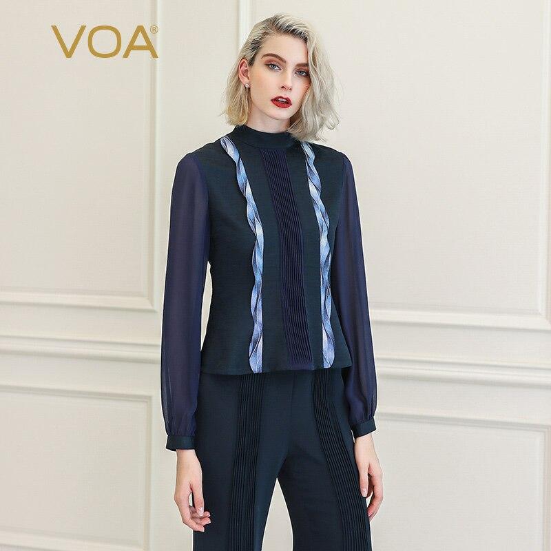 VOA футболка для женщин футболки Femme сетки Harajuku Vogue Костюмы magliette donna Роскошные 100% Шелк Дамы Основные с длинным рукавом B878