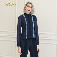 VOA футболка для женщин футболки Femme сетки Harajuku Vogue Костюмы magliette donna Роскошные 100% Шелк Дамы базовый с длинным рукавом B878