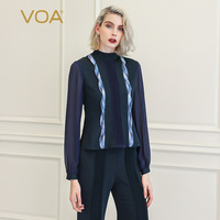 VOA T Shirt Women Tops Tee Femme Mesh Harajuku Vogue Clothing magliette donna Luxury 100% Silk Ladies Basic Long Sleeve B878