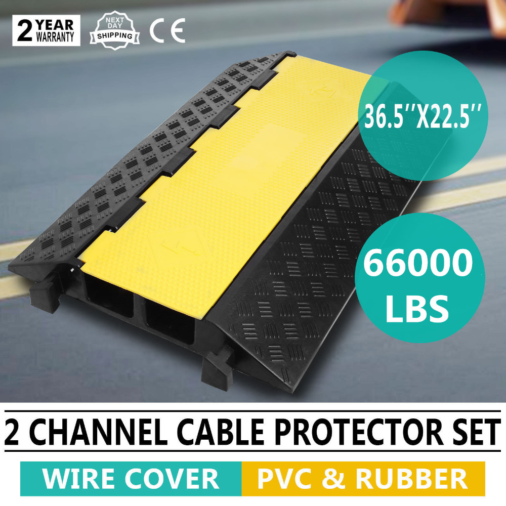 Rubber 2-cable 66000 LB Electrical 36.5X22.5 Wire Snake Cover Ramp ProtectorRubber 2-cable 66000 LB Electrical 36.5X22.5 Wire Snake Cover Ramp Protector