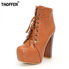 Taoffen/женские ботильоны туфли на высоком каблуке короткие зимние Botas пикантные винтажные качественные Обувь на теплом меху ботинки P2182 распродажа размеры 34–39