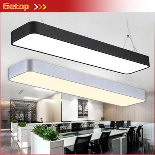 Luminaires suspendus modernes en aluminium de puce LED accrochant l'appareil d'éclairage de bande de fil pour la lampe d'étude de salle de conférence de bureau argent/noir