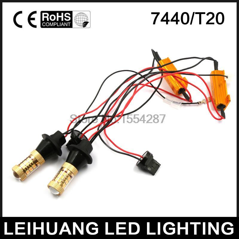 Новый 2x двойной Цвет 54SMD 4014 Белый Янтарь Т20 7440 светодиодные лампы для передние поворотные огни DRL canbus безошибочные