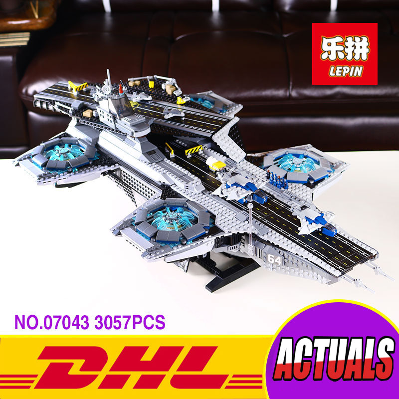 Lepin 07043 Super Heroes The Shield Helicarrier Model Building Compatible with 76042 Marvel Superheroes Toys 3057Pcs building blocks super heroes back to the future doc brown and marty mcfly with skateboard wolverine toys for children gift kf197