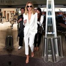 цена CUSTOM MADE white trouser suit womens business suits ladies winter formal suits female office uniform work suits womens tuxedo в интернет-магазинах
