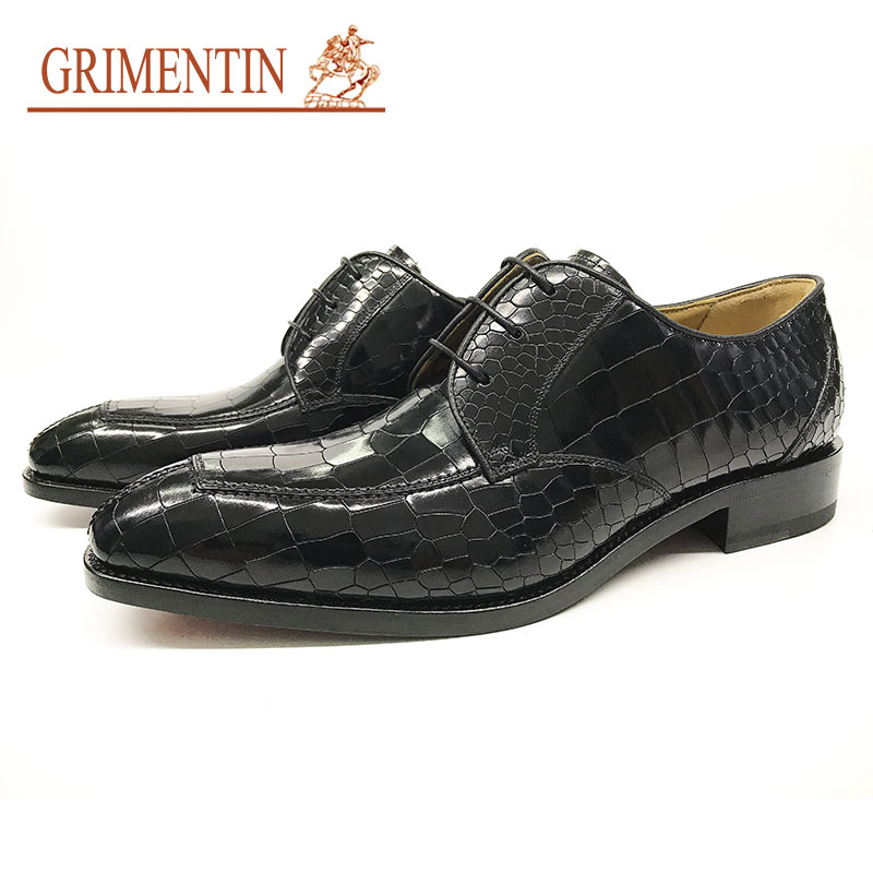 GRIMENTIN brand luxury fashion mens dress shoes genuine leather black Alligator style men dress shoes for wedding size:38-44 картридж epson c13s015637 для epson lq 670 680 860 2500 2550 1060 черный
